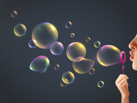Girl blowing soap bubbles with rainbow reflection on transparent background realistic vector illustration