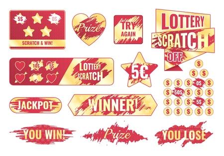 Rubbelkarten und Lottoscheine bunter Satz isoliert auf weißem Hintergrund flache Vektorgrafiken