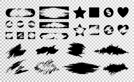 Flacher Satz verschiedene schwarze Rubbelkarten lokalisiert auf transparenter Hintergrundvektorillustration Vektorgrafik