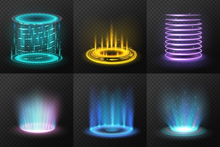Set of realistic colorful magic portals with light streams on dark transparent background isolated vector illustration