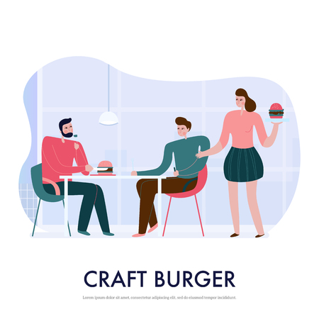 People eating burgers in bistro flat vector illustration Illustration