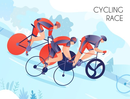 Group of bicyclists in bright sports wear during cycling race on nature background vector illustration