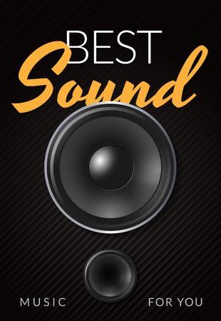 Realistisches Lautsprecher-Werbeplakat mit weißer gelber Aufschrift bester Ton auf schwarzer Hintergrundvektorillustration Vektorgrafik