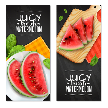 Watermelon servings 2 realistic vertical banners with juicy triangle wedges on cutting board black background vector illustration