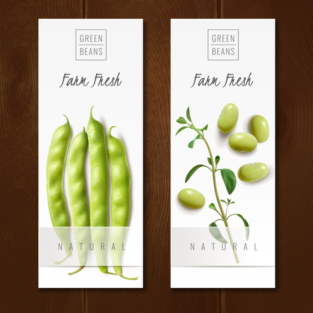 Fresh organic green beans pods healthy choice farm market offer 2 realistic vertical banners isolated vector illustration Illustration