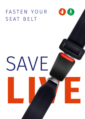 Realistic seat belt social ad poster of safe trip on white background with road signs vector illustration