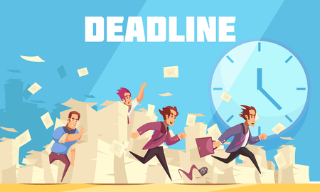 Deadline vector illustration with clock at urban landscape background and running people who are late for work