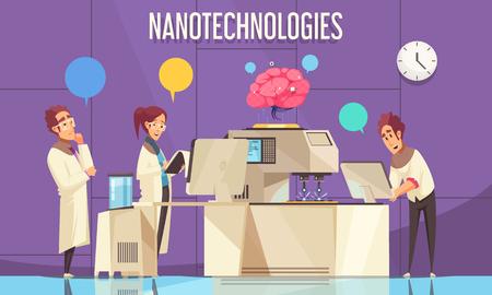 Affiche plate de nanotechnologies avec des scientifiques menant des expériences sur le cerveau humain dans une illustration vectorielle de laboratoire scientifique moderne Vecteurs