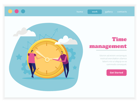 Effective management concept flat landing page with editable text get started button and doodle images composition vector illustration