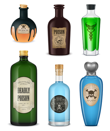Colored and isolated realistic poison icon set different shapes colors and styles vector illustration
