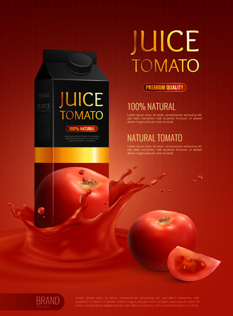 Advertising composition with packet of natural tomato juice realistic vector illustration