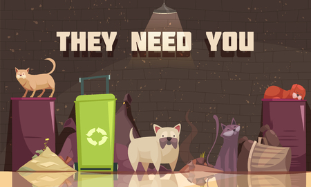 Homeless animals poster with cats near trash containers and they need you headline flat vector illustration