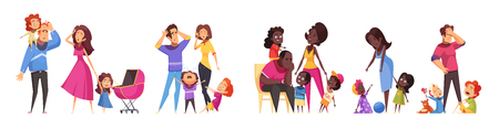 Set of isolated cartoon compositions showing routine scenes of family relations between adult and children vector illustration