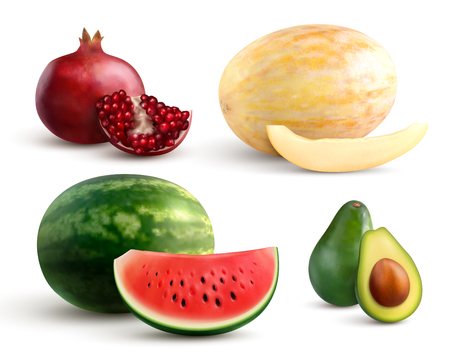 Realistic set of colorful whole and cut fruits with pomegranate melon watermelon and avocado isolated on white background vector illustration