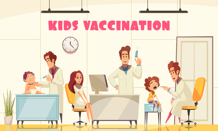 Kids vaccination poster illustrated how medical staff vaccinates young patients in clinic flat vector illustration Illustration