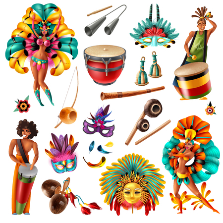 Brazilian carnival festivities  realistic colorful elements set with traditional musical instruments masks feathers costumes isolated vector illustration