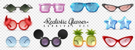 Carnival party masquerade glasses diamond  star cat eye shaped funny sunglasses realistic set transparent background vector illustration