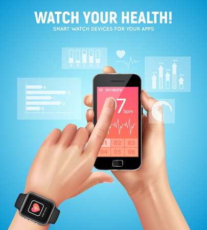 Realistic smart watch health composition with watch your health headline and mans hand vector illustration
