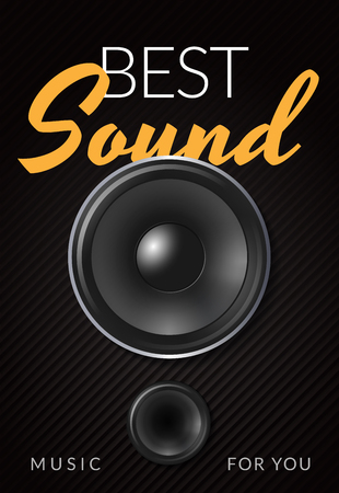 Realistic loud speaker advertising poster with white yellow inscription best sound on black background vector illustration