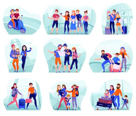 Set composities met reizigers in verschillende activiteiten met bagage en toeristische uitrusting geïsoleerde vectorillustratie