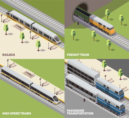 Railbus freight cargo and high speed trains passenger transportation concept 4 isometric icons set isometric vector illustration