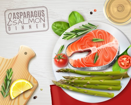 Asparagus salmon tomatoes healthy dinner top view realistic advertising with lemon rosemary on cutting board vector illustration