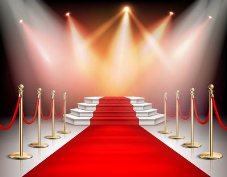 Alfombra roja realista y pedestal con iluminación y vallas de barrera con ilustración de vector de cuerda de terciopelo