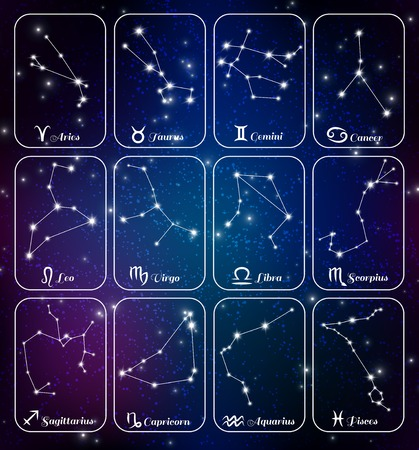 Astrology horoscope zodiac signs stars constellations 12 mini banners cards set dark blue background isolated vector illustration