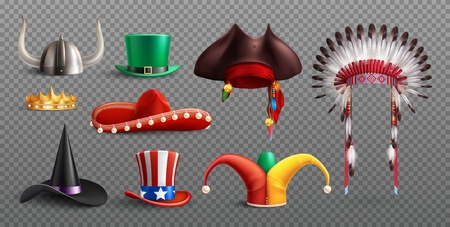 Masquerade hats set on transparent background with traditional national and holiday elements isolated vector illustration Illustration
