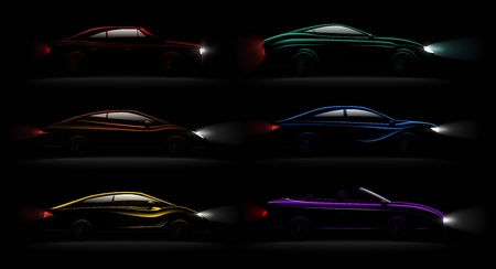 Lightened cars in darkness realistic 6 luxury captivating metallic reflecting colors automobiles lamps lit set vector illustration Illustration