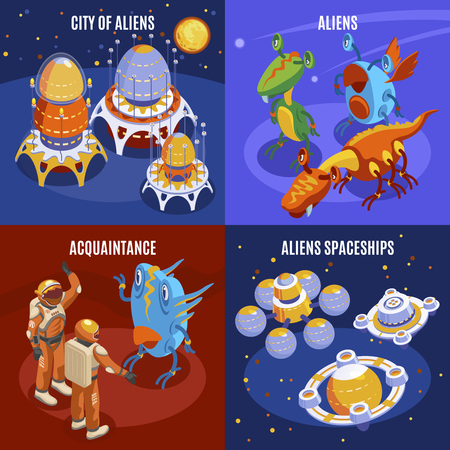 Four aliens isometric composition with city of aliens acquaintance and spaceships descriptions vector illustration