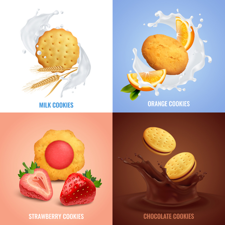Cookies realistic concept icons set with strawberry and chocolate taste symbols isolated vector illustration