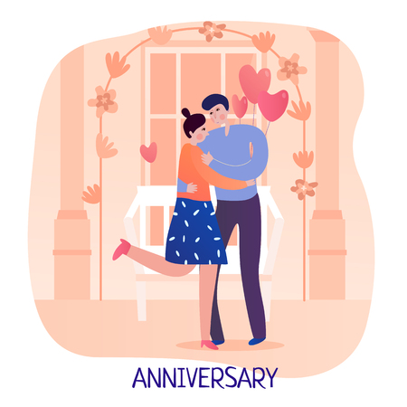 Valentine day couple man and woman during hug on background of festive decorations flat vector illustration