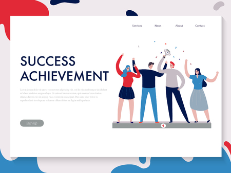 Flat design teamwork banner with people achieved success together vector illustration