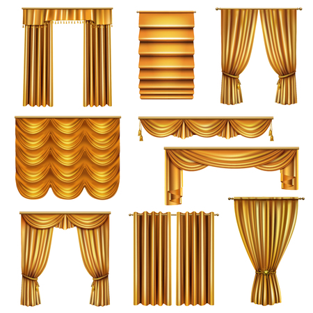 Set of realistic luxury gold curtains of various drapery design with decorative elements isolated vector illustration