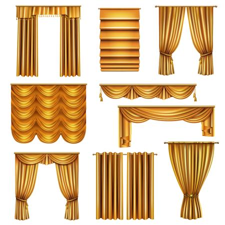 Set realistischer Luxusgoldvorhänge mit verschiedenen Draperie-Designs mit dekorativen Elementen isolierte Vektorillustration