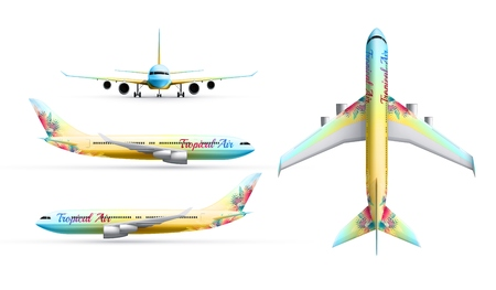 Colorful airliners realistic identity set of passenger airplane in profile top and from front isolated vector illustration Banque d'images - 126162314
