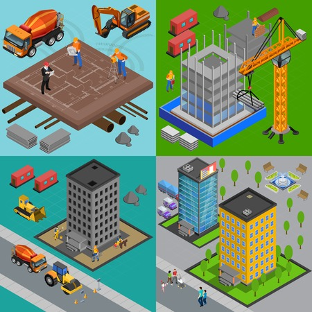 Construction isometric design concept with view of building yards and houses at different points of construction vector illustration Иллюстрация