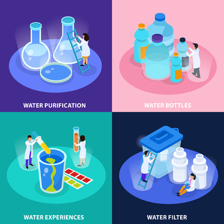 Water purification isometric icon set with water bottles experiences and filter descriptions vector illustration