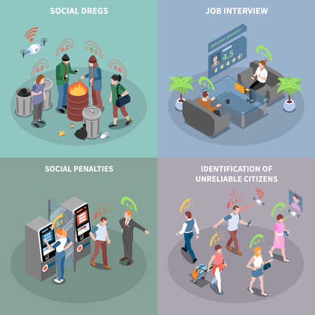 Social credit score system isometric 2x2 design concept with futuristic rating pictograms and people with text vector illustration Illustration