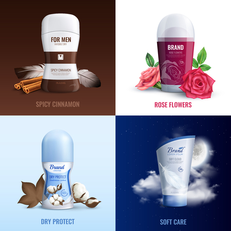 Deodorant bottles 2x2 design concept set of perfume with aroma of spicy cinnamon and rose flowers realistic vector illustration