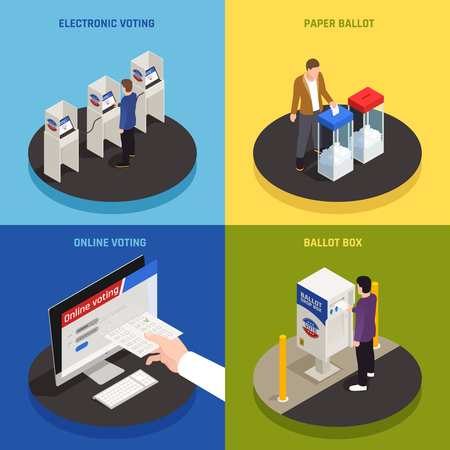Elections and voting concept icons set with online voting symbols isometric isolated vector illustration