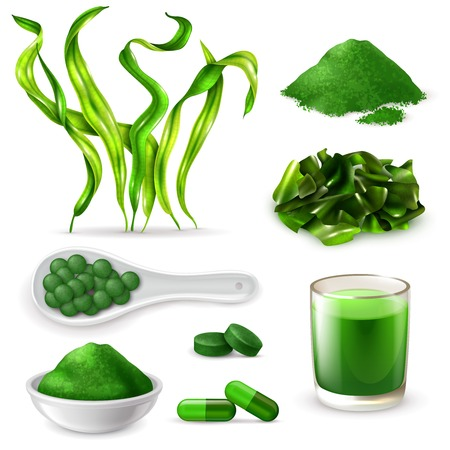 Spirulina realistic set with seaweeds  supplement capsules drink tablets green blue powder chopped dried algae vector illustration