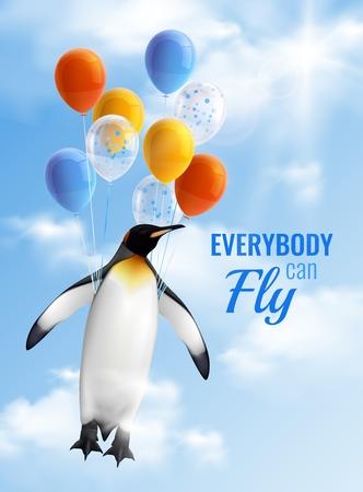 Cartel realista colorido con imagen de pingüino volando en globos de aire y texto motivacional que todos pueden volar ilustración vectorial Ilustración de vector