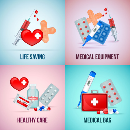 First aid medical emergency kit 4 icons concept square with heart symbol thermometer pills isolated vector illustration