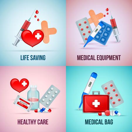 Il quadrato di concetto delle icone del kit di emergenza medica di pronto soccorso 4 con le pillole del termometro di simbolo del cuore ha isolato l'illustrazione di vettore Vettoriali