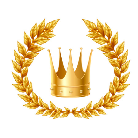 Realistic design concept with golden laurel wreath and crown on white background isolated vector Illustration