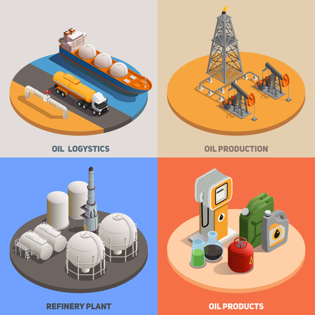 Usine de raffinerie de logistique de production de pétrole 4 icônes de fond coloré isométrique concept de l'industrie pétrolière carré isolé illustration vectorielle