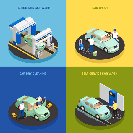 Carwash concept icons set with self service car wash symbols isometric isolated vector illustration