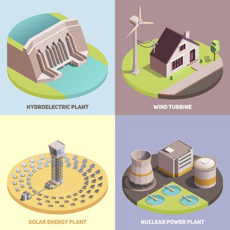 Green energy production concept 4 isometric icons with wind turbine hydroelectric and solar energy plants vector illustration Illustration